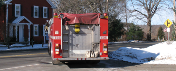 front of a firefighter truck