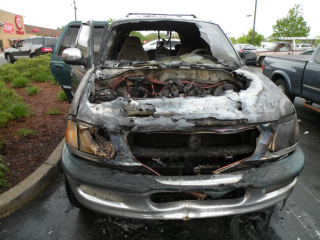 car with front burned off